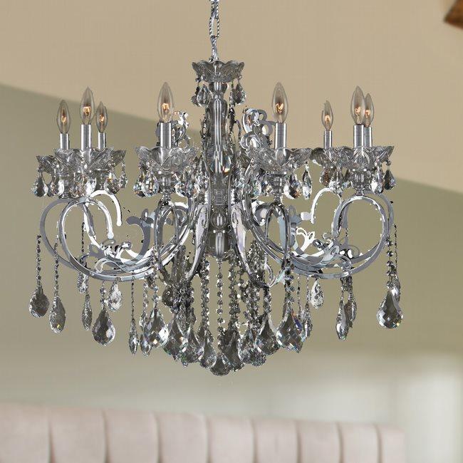 W83109c36 sm kronos 10 light chrome finish and smoke crystal chandelier mozeypictures Choice Image