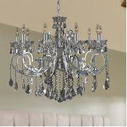W83109C36-SM Kronos 10 Light Chrome Finish and Smoke Crystal Chandelier