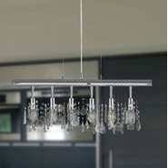 Nadia Collection 6 Light Chrome Finish and Clear Crystal Linear Pendant Light