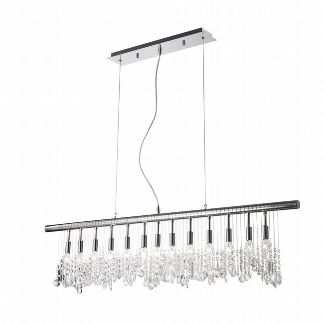 W83110C48 Nadia 13 Light Chrome Finish and Clear Crystal Linear Pendant Light