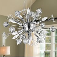 W83111C24 Starburst 20 Light Chrome Finish and Clear Crystal Chandelier