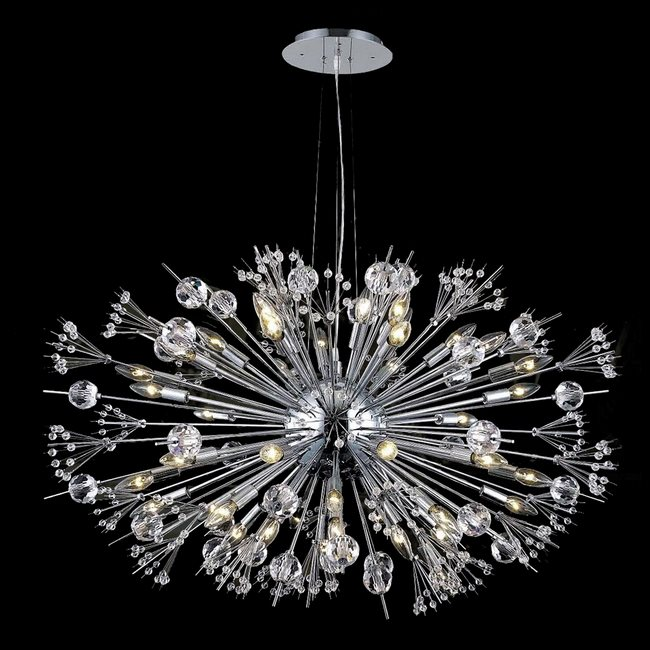 W83111c36 starburst 24 light chrome finish and clear crystal chandelier aloadofball Images