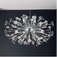 W83111C36 Starburst 24 Light Chrome Finish and Clear Crystal Chandelier