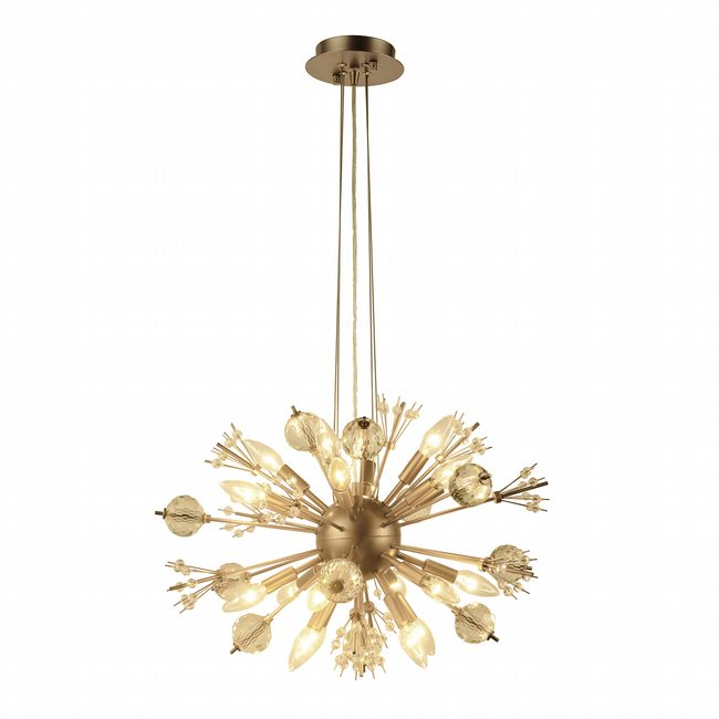 W83111MG24 Starburst 20 Light Matte Gold Finish and Clear Crystal Sputnik Chandelier D24 in. x H16 in. Large