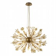 W83111MG36 Starburst 24-Light Matte Gold Finish and Clear Crystal Sputnik Chandelier D36 in. x H26 in. Large