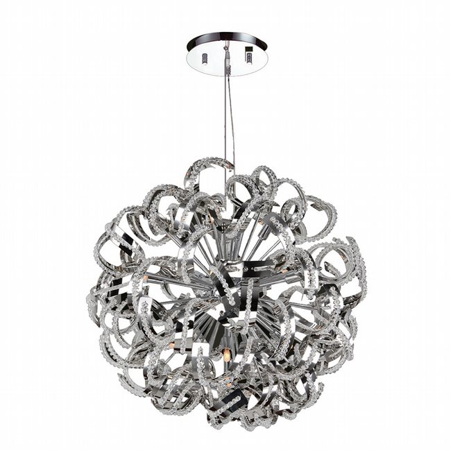 W83112C24 Medusa 13 Light Chrome Finish Crystal Chandelier