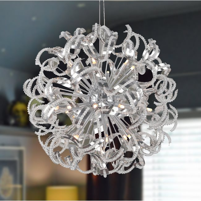 W83112C28 Medusa 25 Light Chrome Finish with Clear Crystal Chandelier