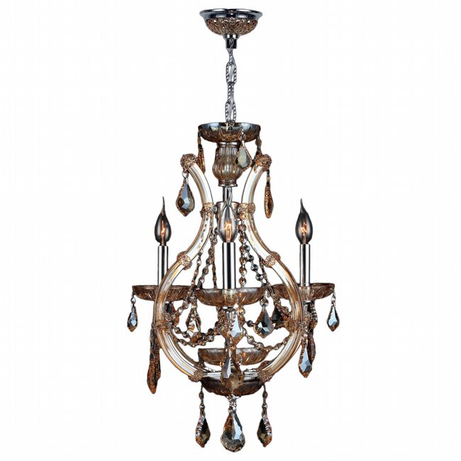 W83114C16-AM Lyre 4 Light Chrome Finish and Amber Crystal Chandelier