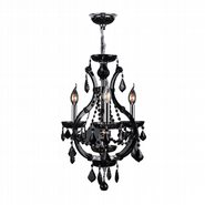 W83114C16-BL Lyre 4 Light Chrome Finish and Black Crystal Chandelier
