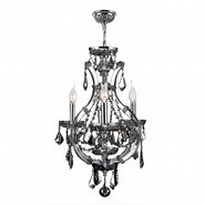W83114C16-CH Lyre 4 Light Chrome Finish and Chrome Crystal Mini Chandelier