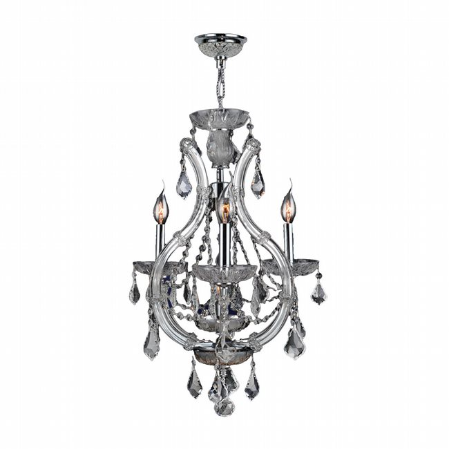 W83114C16-CL Lyre 4 Light Chrome Finish and Clear Crystal Mini Chandelier