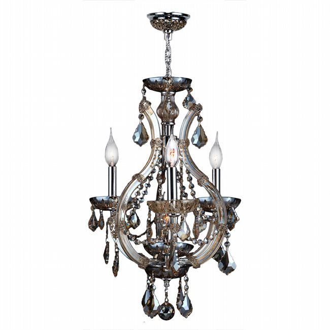 W83114C16-GT Lyre 4 Light Chrome Finish and Golden Teak Crystal Mini Chandelier