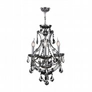 W83114C16-SM Lyre 4 Light Chrome Finish and Smoke Crystal Mini Chandelier