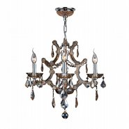 W83115C19-AM Lyre 4 Light Chrome Finish and Amber Crystal Chandelier