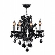 W83115C19-BL Lyre 4 light Chrome Finish with Black Crystal Chandelier