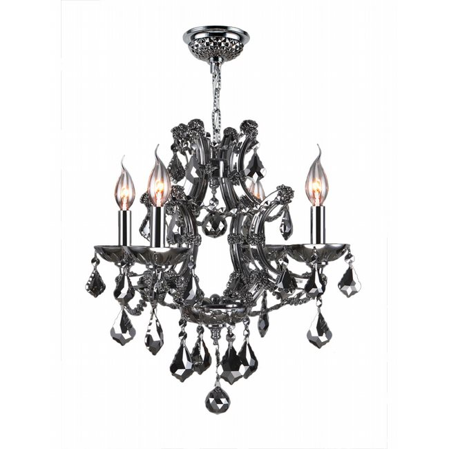 W83115C19-CH Lyre 4 Light Chrome Finish and Chrome Crystal Chandelier