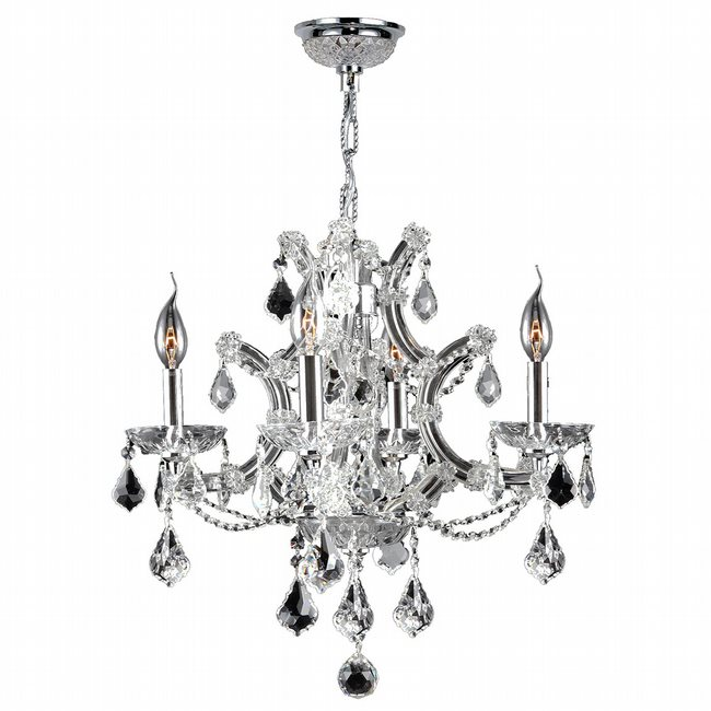 W83115C19-CL Lyre 4 light Chrome Finish with Clear Crystal Chandelier