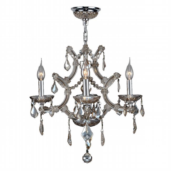 W83115C19-GT Lyre 4 Light Chrome Finish and Golden Teak Crystal Chandelier