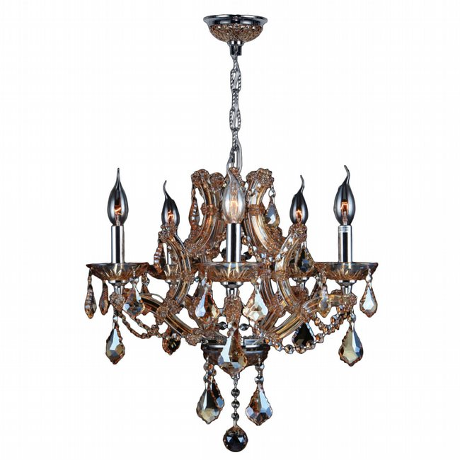 W83116C19-AM Lyre 5 Light Chrome Finish and Amber Crystal Chandelier