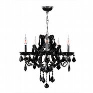 W83116C19-BL Lyre 5 Light Chrome Finish and Black Crystal Chandelier