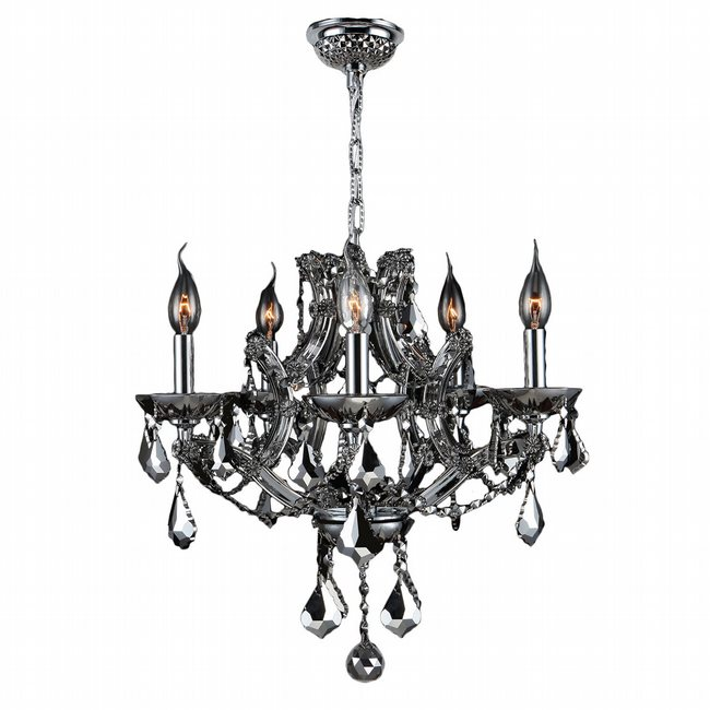 W83116C19-CH Lyre 5 Light Chrome Finish and Chrome Crystal Chandelier
