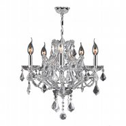 W83116C19-CL Lyre 5 Light Chrome Finish and Clear Crystal Chandelier