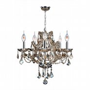 W83116C19-GT Lyre 5 Light Chrome Finish and Golden Teak Crystal Chandelier