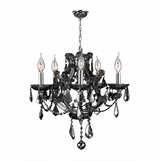W83116C19-SM Lyre 5 Light Chrome Finish and Smoke Crystal Chandelier