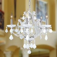 W83116C19-WH Lyre 5 Light Chrome Finish and White Crystal Chandelier