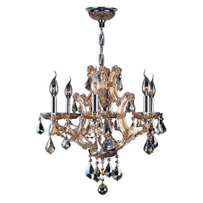 W83117C20-AM Lyre 6 Light Chrome Finish and Amber Crystal Chandelier