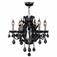 W83117C20-BL Lyre 6 Light Chrome Finish with Black Crystal Chandelier