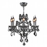 W83117C20-CH Lyre 6 Light Chrome Finish and Chrome Crystal Chandelier