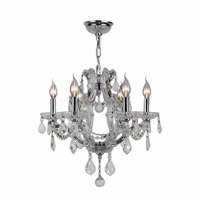 W83117C20-CL Lyre 6 Light Chrome Finish and Clear Crystal Chandelier