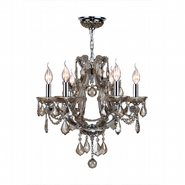 W83117C20-GT Lyre 6 Light Chrome Finish and Golden Teak Crystal Chandelier