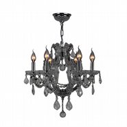 W83117C20-SM Lyre 6 Light Chrome Finish and Smoke Crystal Chandelier