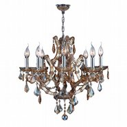 W83118C26-AM Lyre 8 Light Chrome Finish and Amber Crystal Chandelier