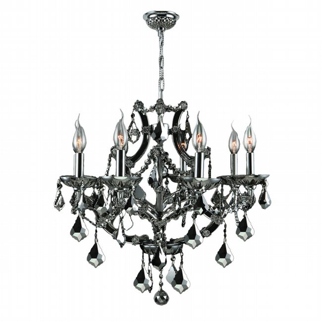 W83118C26-BL Lyre 8 Light Chrome Finish and Black Crystal Chandelier