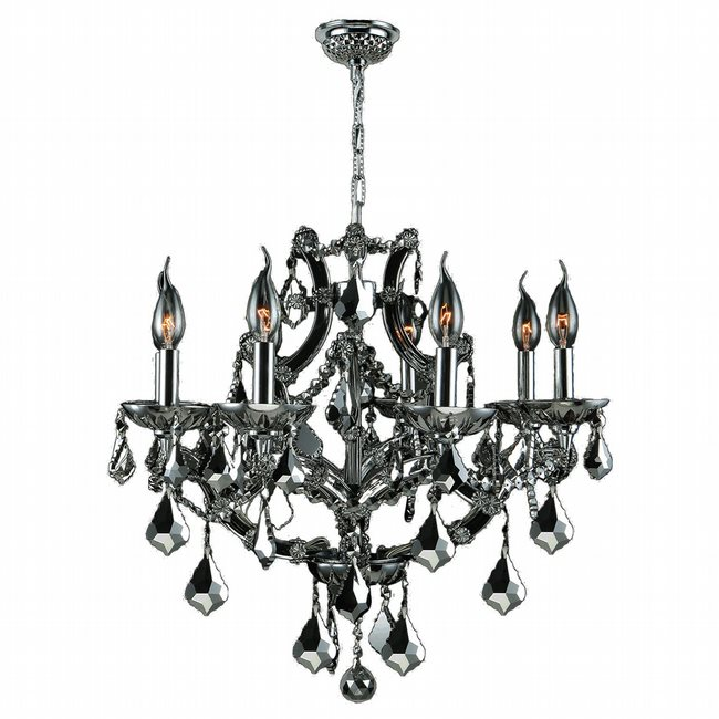 W83118C26-CH Lyre 8 light Chrome Finish with Chrome Crystal Chandelier