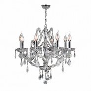 W83118C26-CL Lyre 8 Light Chrome Finish and Clear Crystal Chandelier
