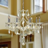W83118C26-GT Lyre 8 light Chrome Finish with Golden Teak Crystal Chandelier