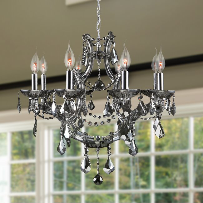 W83118C26-SM Lyre 8 Light Chrome Finish and Smoke Crystal Chandelier
