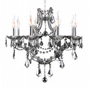 Lyre 8 Light Chrome Finish and Smoke Crystal Chandelier