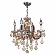 W83119C18-AM Catherine 4 Light Chrome Finish and Amber Crystal Chandelier