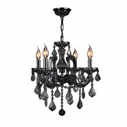 W83119C18-BL Catherine 4 Light Chrome Finish and Black Crystal Chandelier