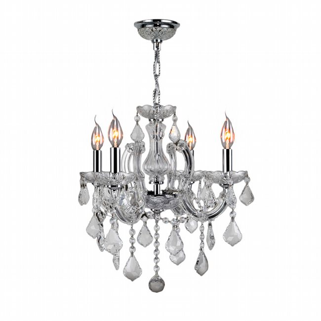 W83119C18-CR Catherine 4 Light Chrome Finish and Clear Crystal Chandelier - DISCONTINUED