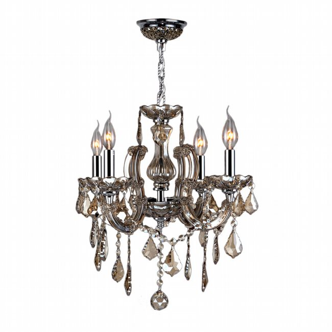 W83119C18-GT Catherine 4 Light Chrome Finish and Golden Teak Crystal