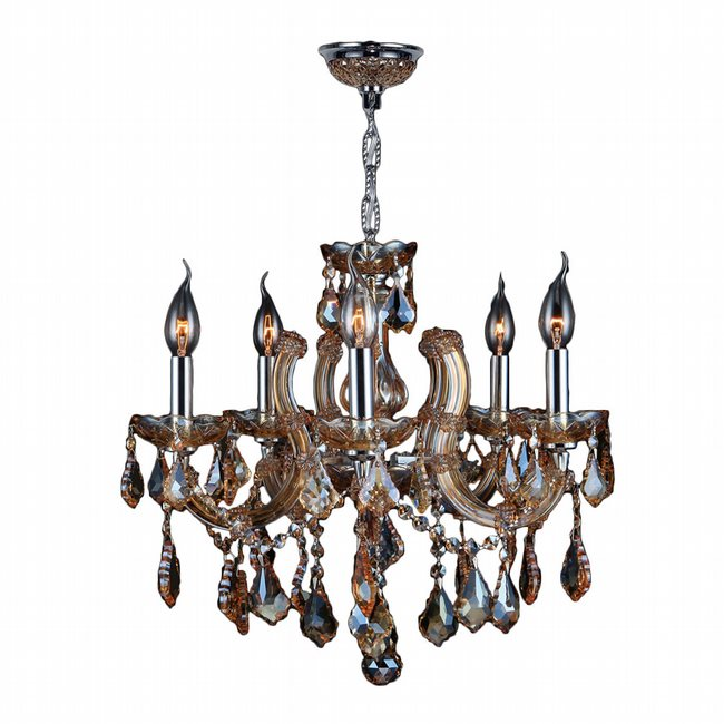 W83120C18-AM Catherine 5 Light Chrome Finish and Amber Crystal Chandelier - Discontinued