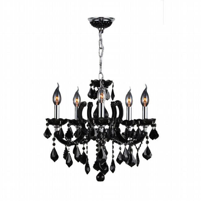 W83120C18-BL Catherine 5 Light Chrome Finish and Black Crystal Chandelier - Discontinued