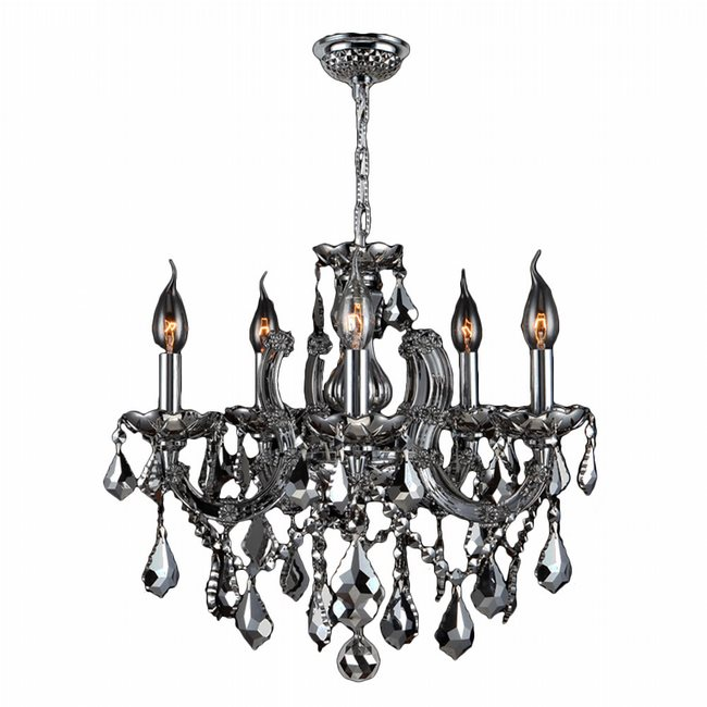 W83120C18-CH Catherine 5 Light Chrome Finish and Chrome Crystal Chandelier - Discontinued