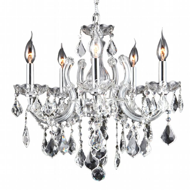 W83120C18-CL Catherine 5 Light Chrome Finish with Clear Crystal Chandelier - Discontinued